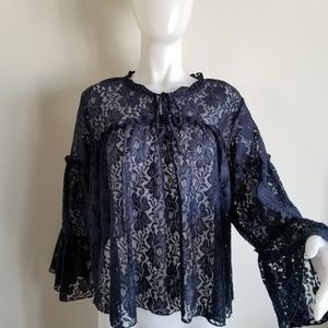 Shannon Ford L blue lace long sleeve blouse